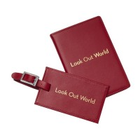 Leather Passport Wallet and Tag Set - Assorted Typography Travel Quotes