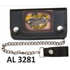 """6 Inch Biker Chain Wallet with 6 pockets and """"Live to Ride/Ride to Live"""""""