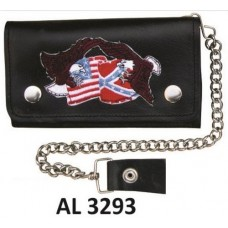 8 Inch Biker Chain Wallet with 5 pockets and Flags & Eagles