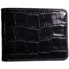 Croco Bifold Wallet with ID Flap 2702 Black