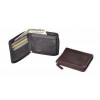 Cowhide Napa Leather Zip Around Wallet
