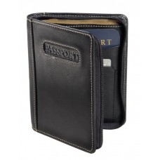 Cowhide Napa Leather Deluxe Zip-around Passport Case