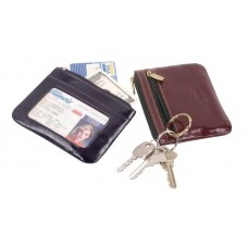 High Polished Cowhide Aniline Kabul Leather I.D. Card Holder with Key Ring