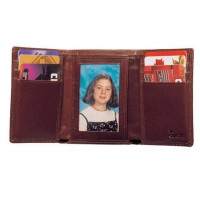 High Polished Aniline Leather Tri-Fold Wallet