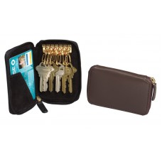 Harness Cowhide Leather Bi-fold Wallet with 6-Brass Key Rings & Zip-Around Closure