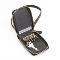 Zippered Key Case Wallet In Saffiano Leather (RFID Blocking)